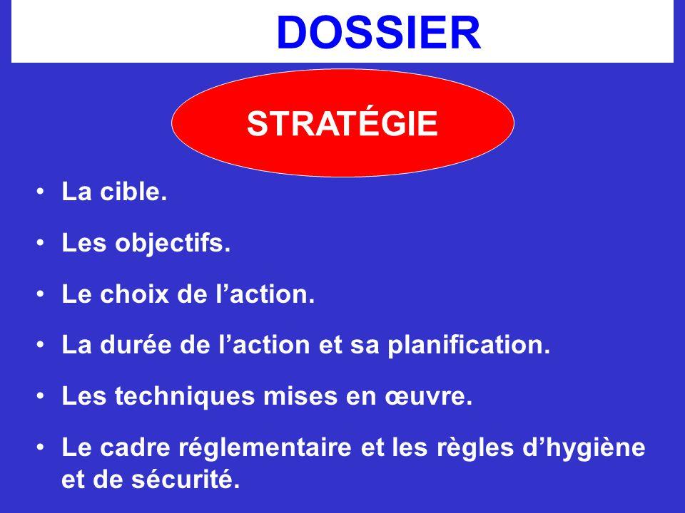 LE DOSSIER STRATÉGIE La cible. Les objectifs. Le choix de l'action. La durée de l'action et sa planification. Les techniques mises en œuvre. Le cadre
