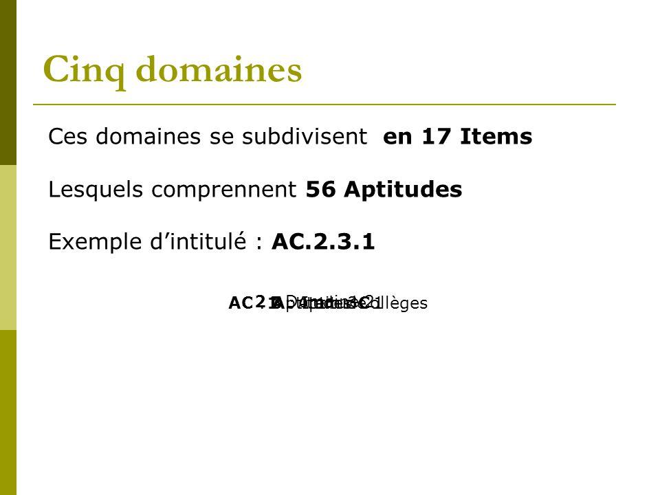 Cinq domaines Ces domaines se subdivisent en 17 Items Lesquels comprennent 56 Aptitudes Exemple d'intitulé : AC.2.3.1 AC : Aptitudes Collèges3 : Item 3 2 : Domaine 2 1 : Aptitude 1