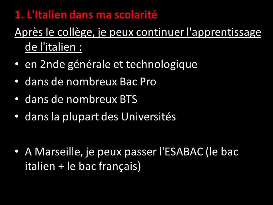 1. L'Italien dans ma scolarité Après le collège, je peux continuer l'apprentissage de l'italien : en 2nde générale et technologique dans de nombreux B