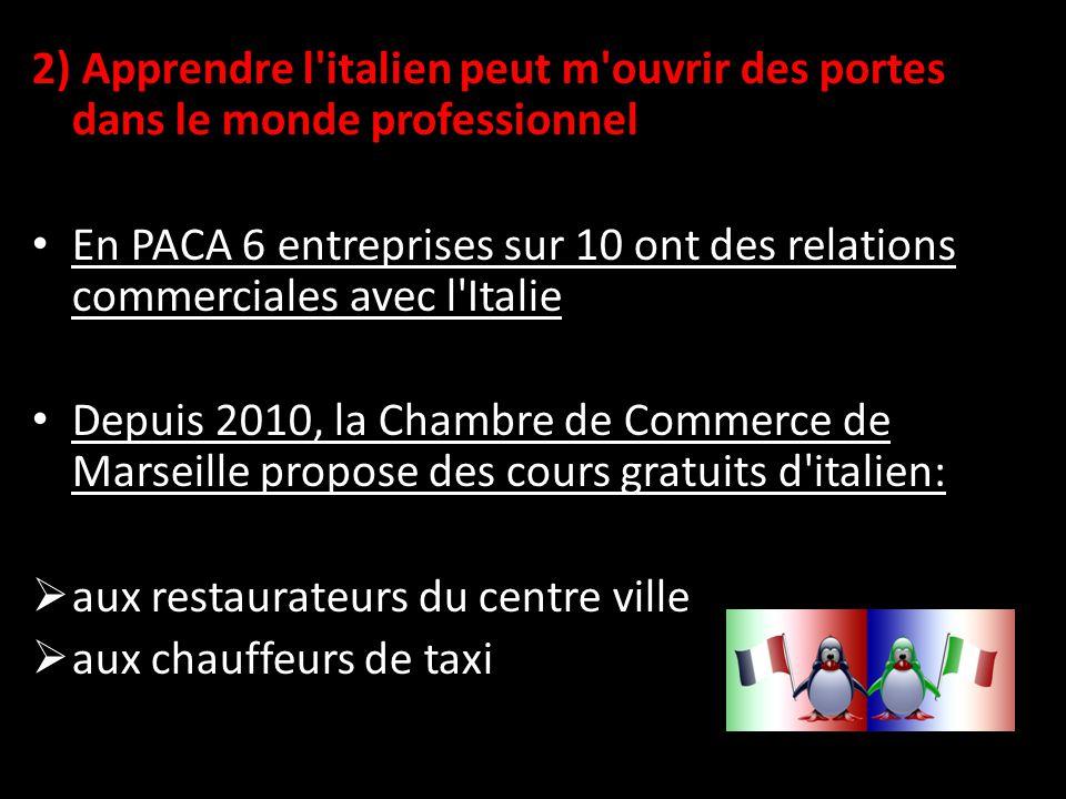 2) Apprendre l italien peut m ouvrir des portes dans le monde professionnel En PACA 6 entreprises sur 10 ont des relations commerciales avec l Italie Depuis 2010, la Chambre de Commerce de Marseille propose des cours gratuits d italien:  aux restaurateurs du centre ville  aux chauffeurs de taxi