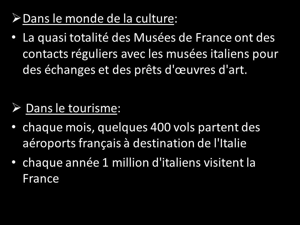  Dans le monde de la culture: La quasi totalité des Musées de France ont des contacts réguliers avec les musées italiens pour des échanges et des prêts d œuvres d art.