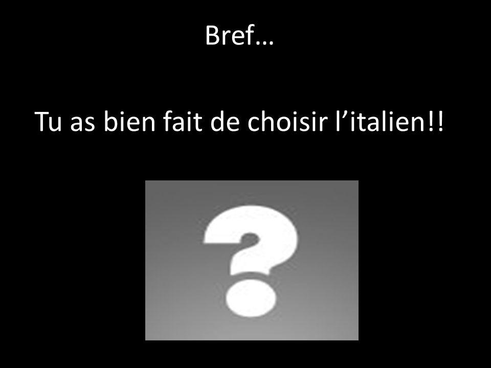 Bref… Tu as bien fait de choisir l'italien!!