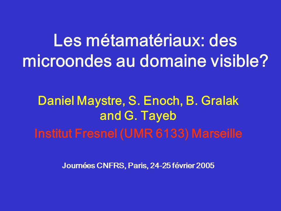 Institut Fresnel, Marseille2 Sommaire Comment fabriquer un matériau qu'on ne trouve pas dans la nature (n,  et  négatifs) .