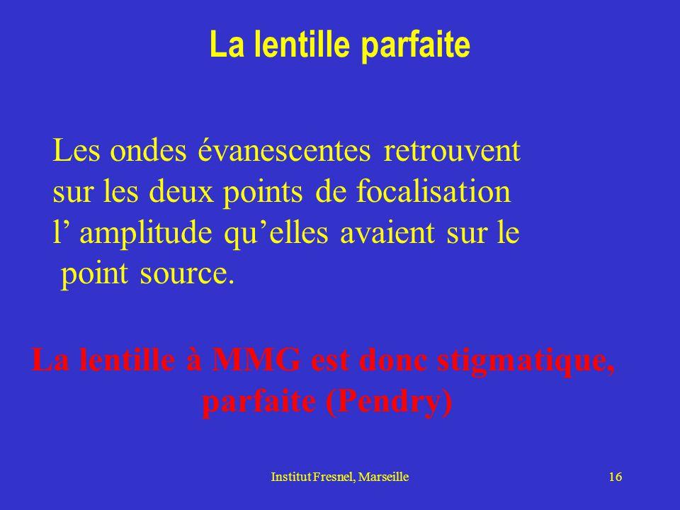Institut Fresnel, Marseille16 La lentille parfaite Les ondes évanescentes retrouvent sur les deux points de focalisation l' amplitude qu'elles avaient sur le point source.