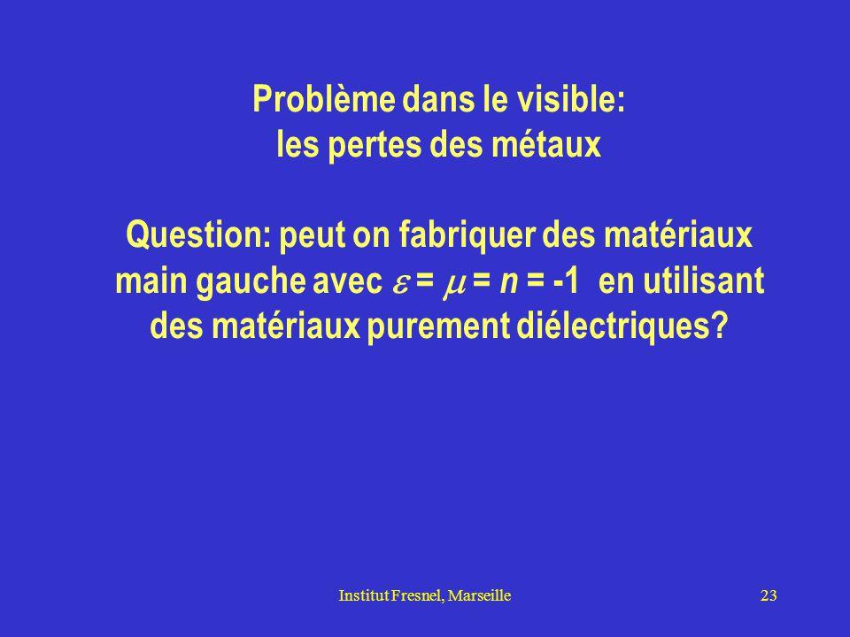 Institut Fresnel, Marseille23 Problème dans le visible: les pertes des métaux Question: peut on fabriquer des matériaux main gauche avec  =  = n = -1 en utilisant des matériaux purement diélectriques?