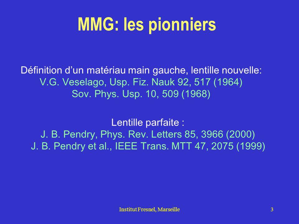 Institut Fresnel, Marseille14 Champ rayonné par une ligne source (cas 2D) s I I' x y Il contient: 1-Des ondes planes propagatives (rayons rouges, I  I  k  ) 2-Des ondes évanescentes (flèches vertes, I  I  k  ) se propageant parallèlement à l'axe des x avec la constante de propagation  et décroissant exponentiellement en se rapprochant de l'interface.