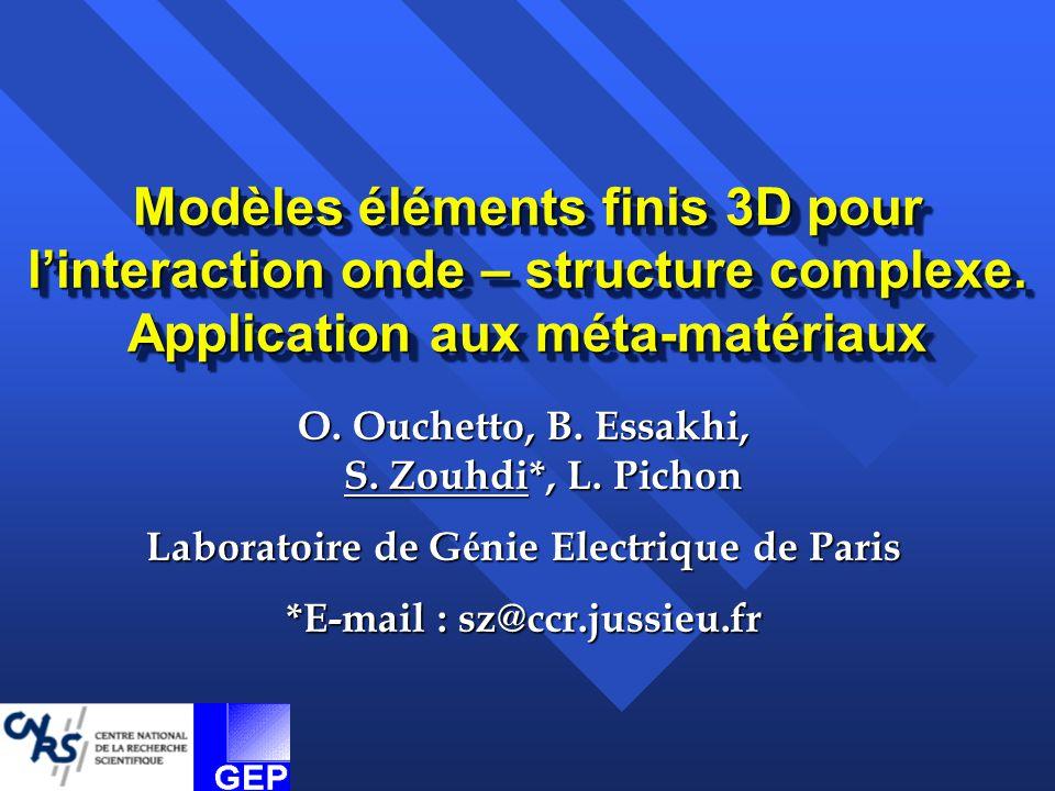 1.Approche directe - Diffusion Modèle éléments finis 3D Modèle éléments finis 3D Formalisme des équations intégrales Formalisme des équations intégrales 2.Homogénéisation A pproche Classique – loi de mélange + MM A pproche Classique – loi de mélange + MM Approche Asymptotique + FEM Approche Asymptotique + FEM Polariseurs micro-ondes et filtres Polariseurs micro-ondes et filtres Diélectriques artificiels Diélectriques artificiels AMC et HIS : antennes miniatures AMC et HIS : antennes miniatures Applications : Surfaces Structurées et Meta-matériaux 1