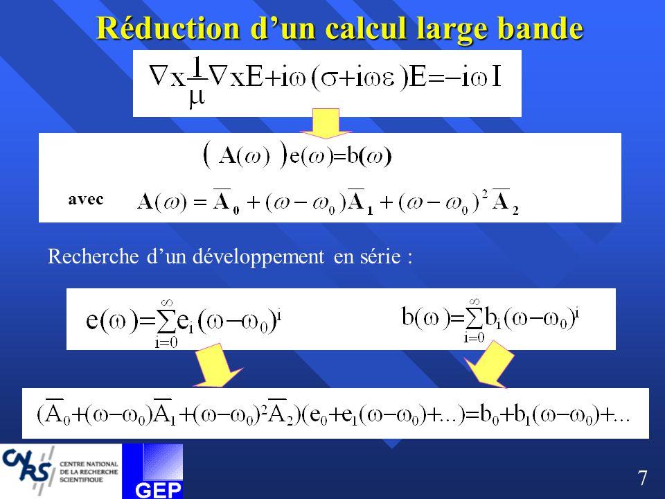 avec Réduction d'un calcul large bande Recherche d'un développement en série : 7