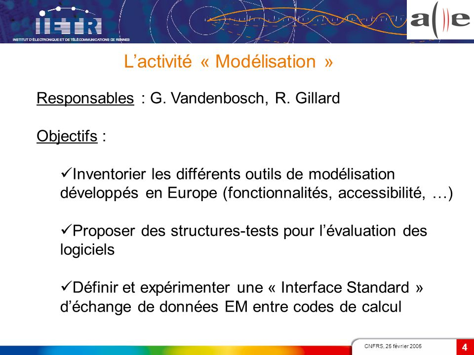 CNFRS, 25 février 2005 INSTITUT D'ÉLECTRONIQUE ET DE TÉLÉCOMMUNICATIONS DE RENNES 4 Responsables : G.