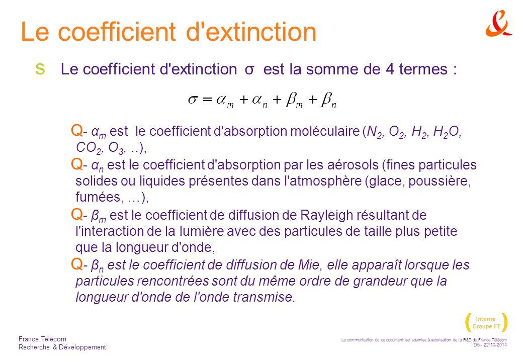 La communication de ce document est soumise à autorisation de la R&D de France Télécom D7 - 22/10/2014 France Télécom Recherche & Développement Le modèle de KRUSE  Le coefficient d atténuation :  où: –V est la visibilité (km) –λ nm est la longueur d onde (nm)  L exposant q caratérise la distribution des particules  L affaiblissement est un fonction décroissante de la longueur d onde