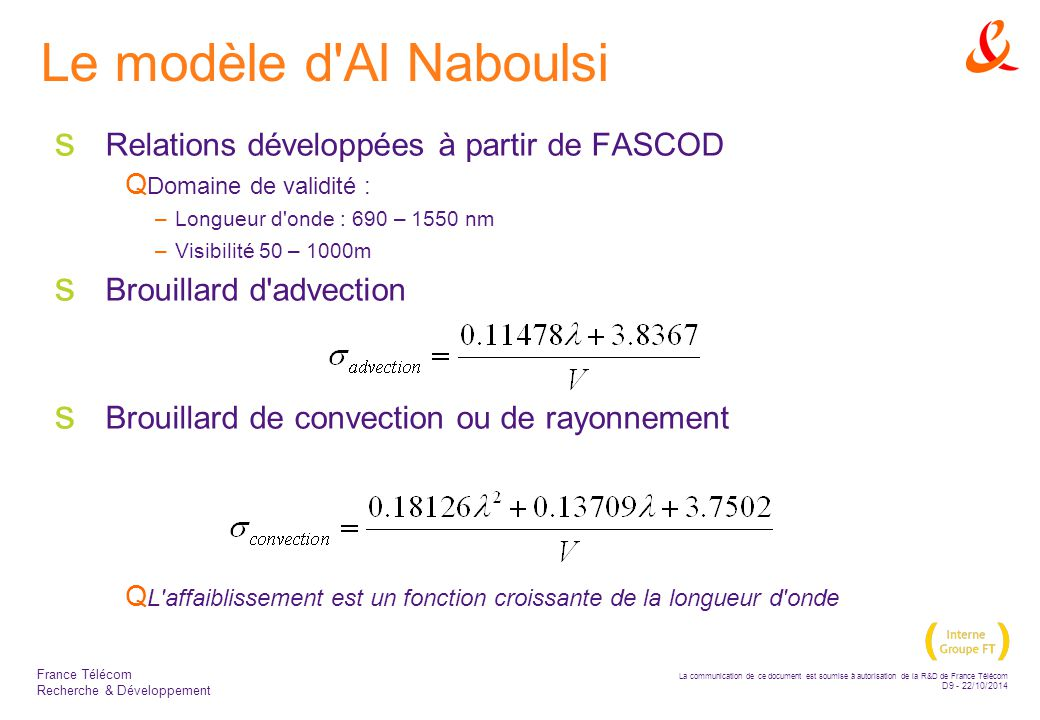 La communication de ce document est soumise à autorisation de la R&D de France Télécom D20 - 22/10/2014 France Télécom Recherche & Développement Résultats expérimentaux  Le modèle de KIM