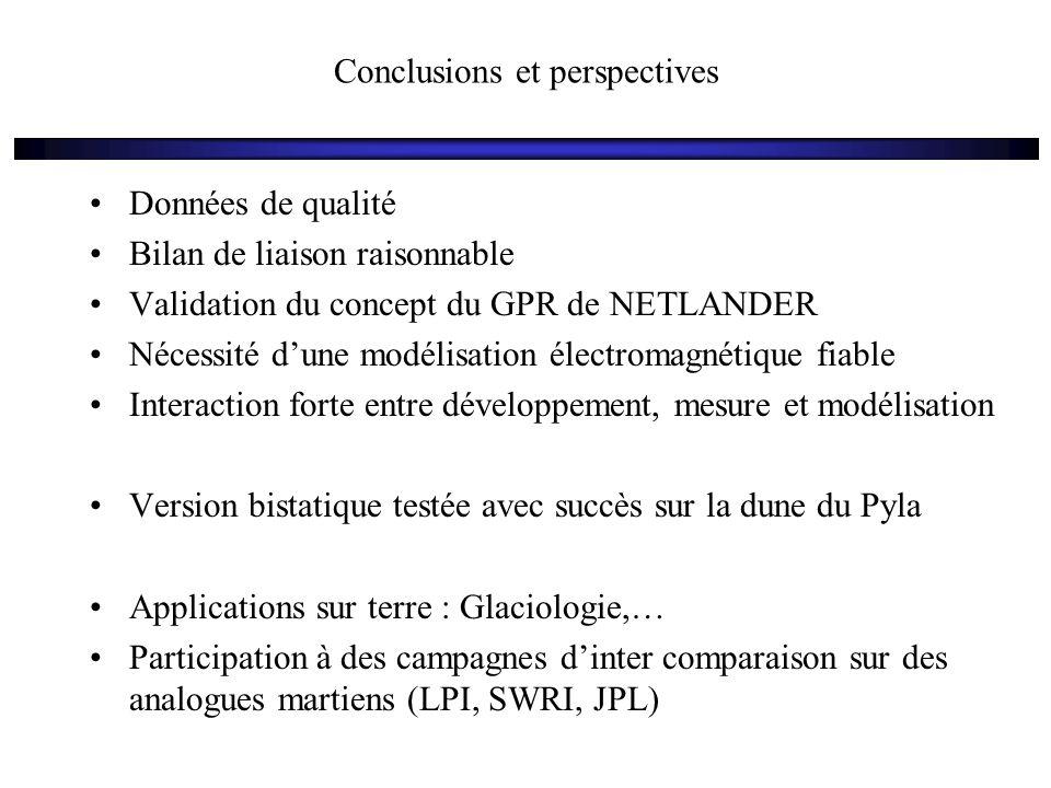 Conclusions et perspectives Données de qualité Bilan de liaison raisonnable Validation du concept du GPR de NETLANDER Nécessité d'une modélisation éle