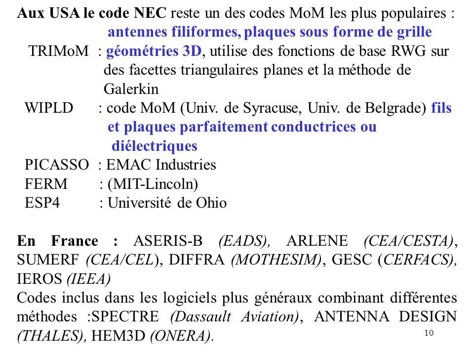 10 Aux USA le code NEC reste un des codes MoM les plus populaires : antennes filiformes, plaques sous forme de grille TRIMoM : géométries 3D, utilise des fonctions de base RWG sur des facettes triangulaires planes et la méthode de Galerkin WIPLD : code MoM (Univ.