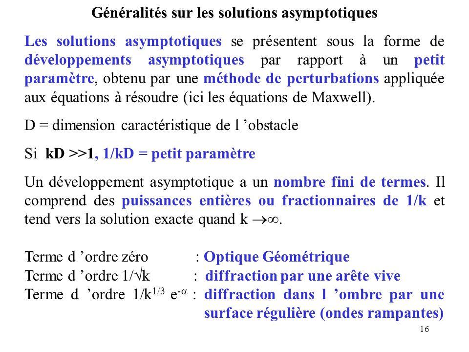 16 Généralités sur les solutions asymptotiques Les solutions asymptotiques se présentent sous la forme de développements asymptotiques par rapport à un petit paramètre, obtenu par une méthode de perturbations appliquée aux équations à résoudre (ici les équations de Maxwell).