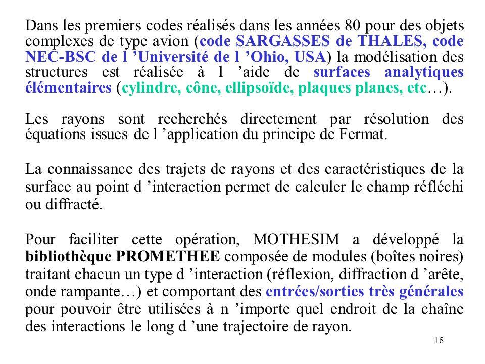 18 Dans les premiers codes réalisés dans les années 80 pour des objets complexes de type avion (code SARGASSES de THALES, code NEC-BSC de l 'Universit