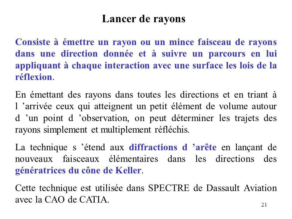 21 Lancer de rayons Consiste à émettre un rayon ou un mince faisceau de rayons dans une direction donnée et à suivre un parcours en lui appliquant à chaque interaction avec une surface les lois de la réflexion.