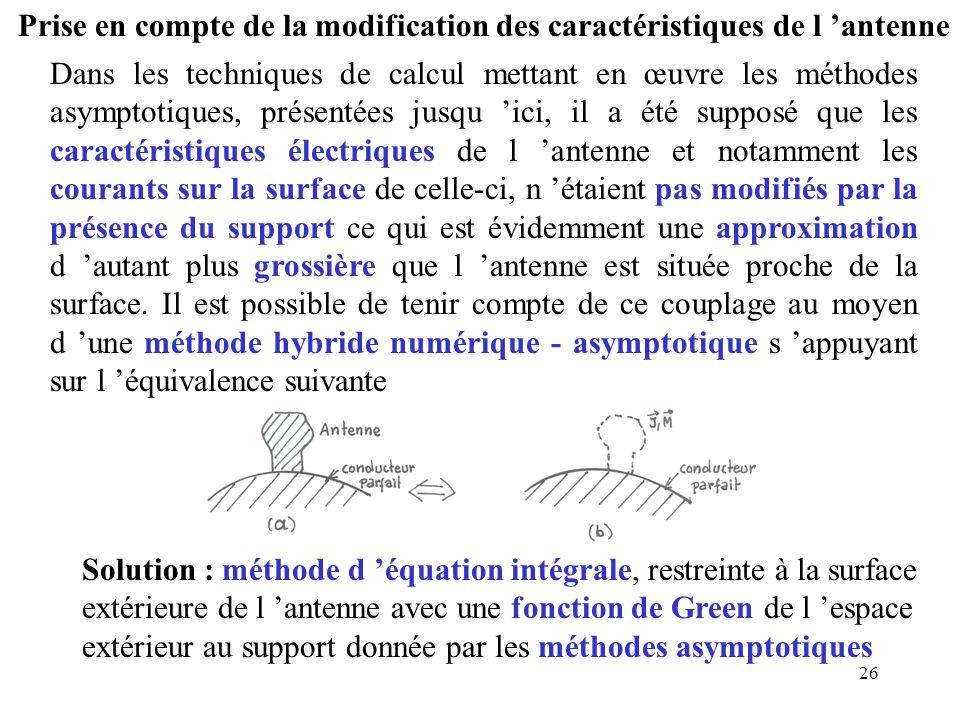26 Prise en compte de la modification des caractéristiques de l 'antenne Dans les techniques de calcul mettant en œuvre les méthodes asymptotiques, pr