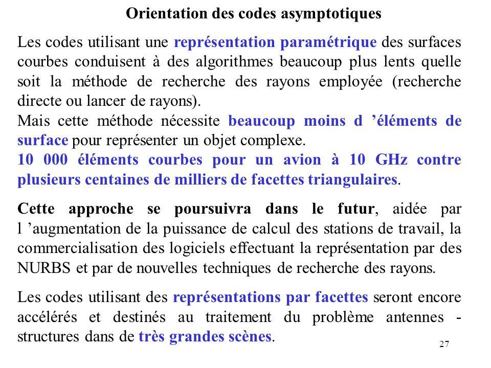 27 Orientation des codes asymptotiques Les codes utilisant une représentation paramétrique des surfaces courbes conduisent à des algorithmes beaucoup plus lents quelle soit la méthode de recherche des rayons employée (recherche directe ou lancer de rayons).