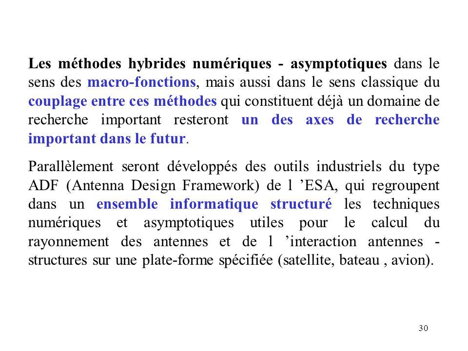 30 Les méthodes hybrides numériques - asymptotiques dans le sens des macro-fonctions, mais aussi dans le sens classique du couplage entre ces méthodes