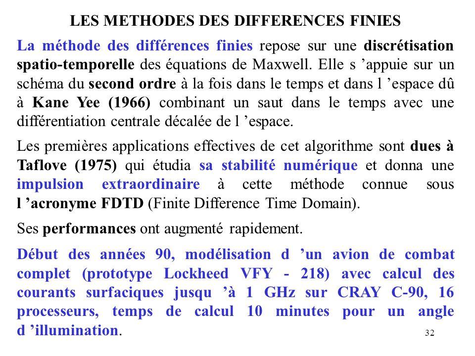 32 LES METHODES DES DIFFERENCES FINIES La méthode des différences finies repose sur une discrétisation spatio-temporelle des équations de Maxwell. Ell