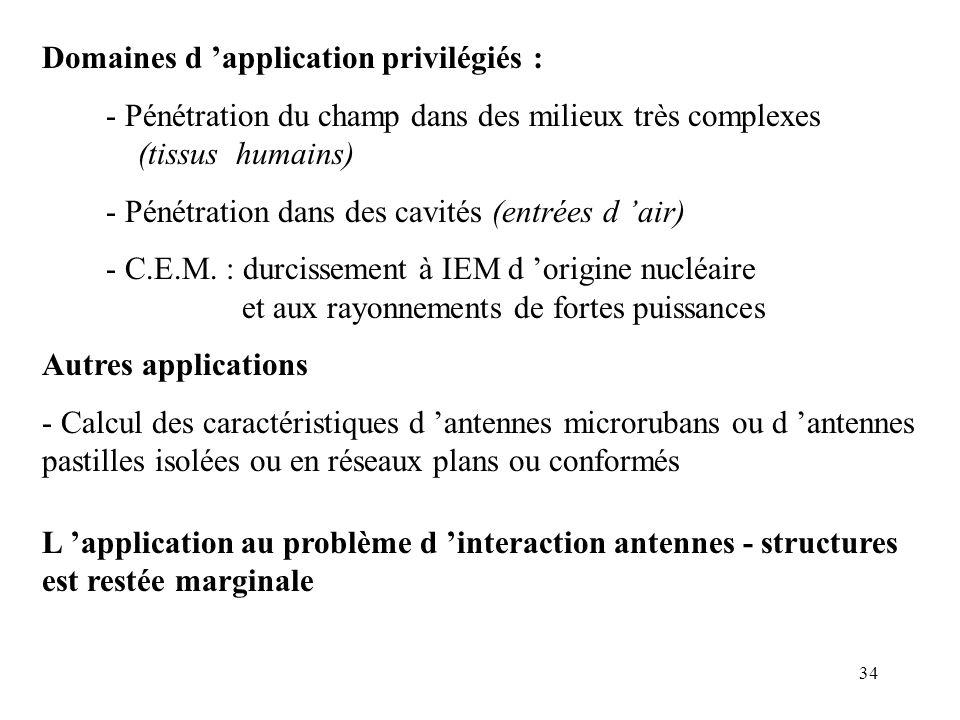 34 Domaines d 'application privilégiés : - Pénétration du champ dans des milieux très complexes (tissus humains) - Pénétration dans des cavités (entrées d 'air) - C.E.M.