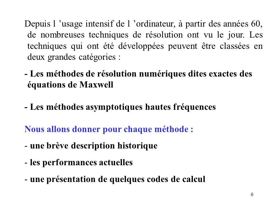 7 ETAT DE L 'ART DES METHODES NUMERIQUES Les méthodes numériques se subdivisent en 3 grandes classes : - La méthode des équations intégrales - la méthode des éléments finis - la méthode des différences finies Les méthodes numériques sont actuellement les techniques les plus utilisées dans de nombreux domaines d 'application : furtivité, compatibilité é.m., conception d 'antennes.