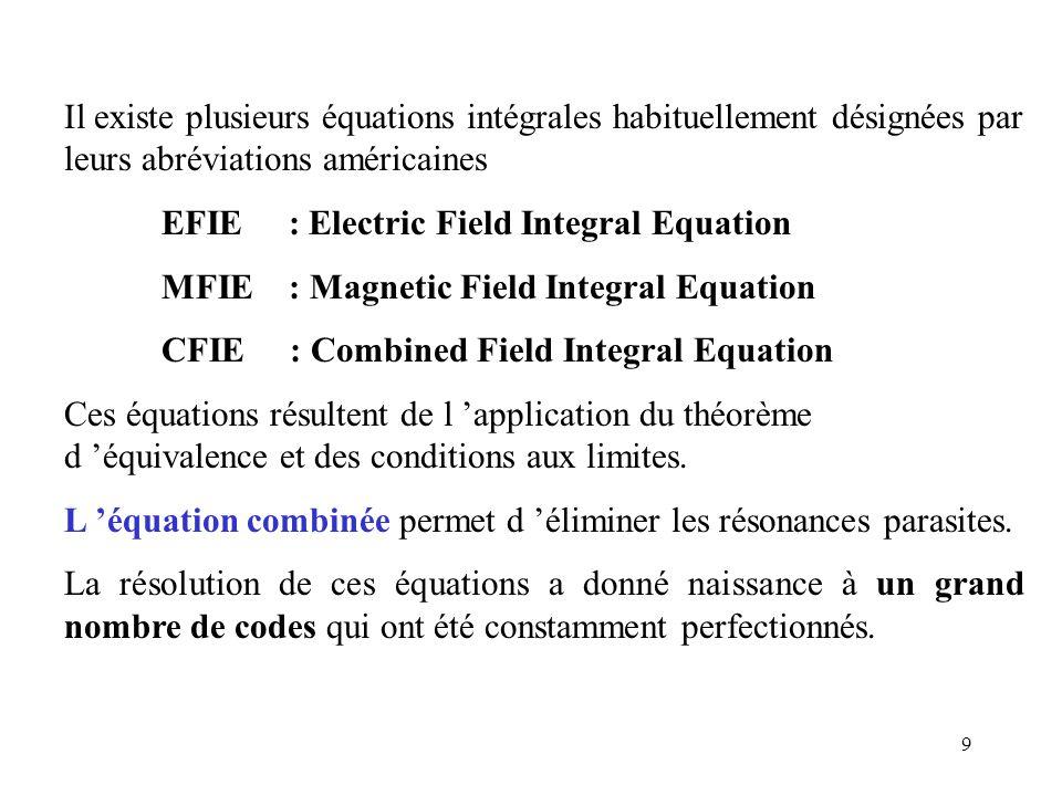 9 Il existe plusieurs équations intégrales habituellement désignées par leurs abréviations américaines EFIE : Electric Field Integral Equation MFIE :