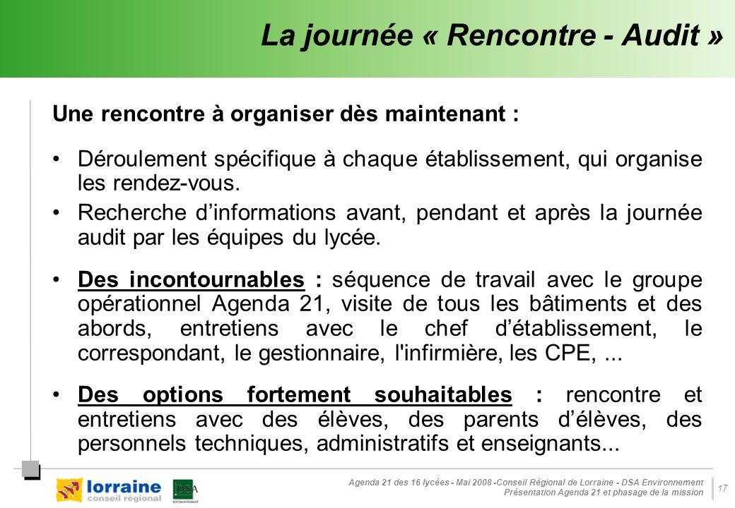 Agenda 21 des 16 lycées - Mai 2008 -Conseil Régional de Lorraine - DSA Environnement Présentation Agenda 21 et phasage de la mission 17 La journée « Rencontre - Audit » Une rencontre à organiser dès maintenant : Déroulement spécifique à chaque établissement, qui organise les rendez-vous.