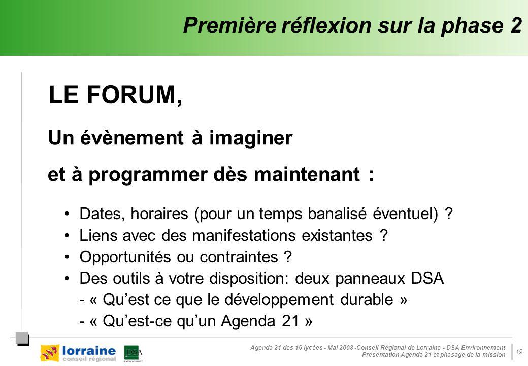 Agenda 21 des 16 lycées - Mai 2008 -Conseil Régional de Lorraine - DSA Environnement Présentation Agenda 21 et phasage de la mission 19 Première réfle