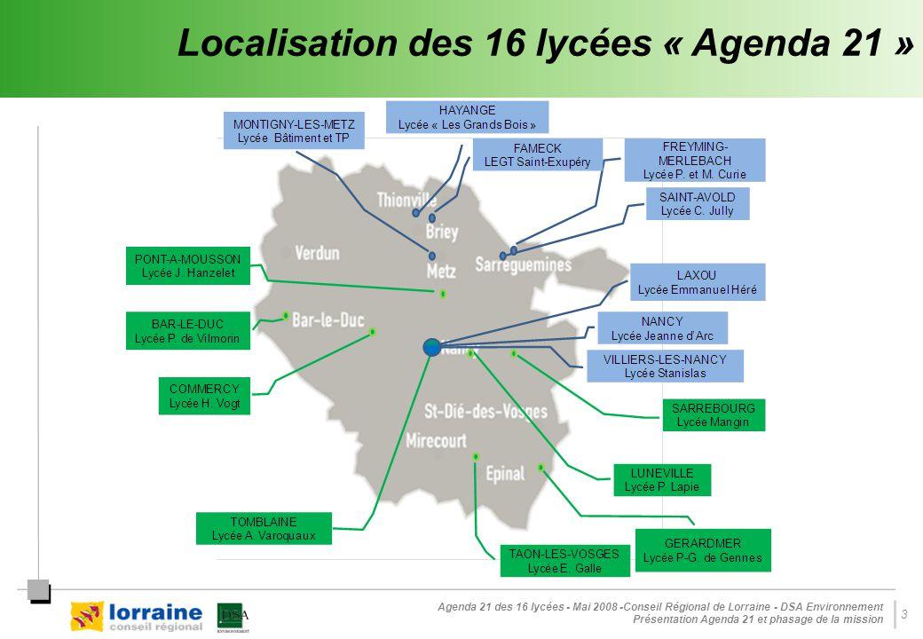 Agenda 21 des 16 lycées - Mai 2008 -Conseil Régional de Lorraine - DSA Environnement Présentation Agenda 21 et phasage de la mission 14 Phase 3 : Élaboration des plans d'actions triennaux Une liste de projets et actions, qui seront mis en œuvre à travers des mesures concrètes, formalisées à l'aide de fiches - actions : - Des actions d'investissement et de fonctionnement...