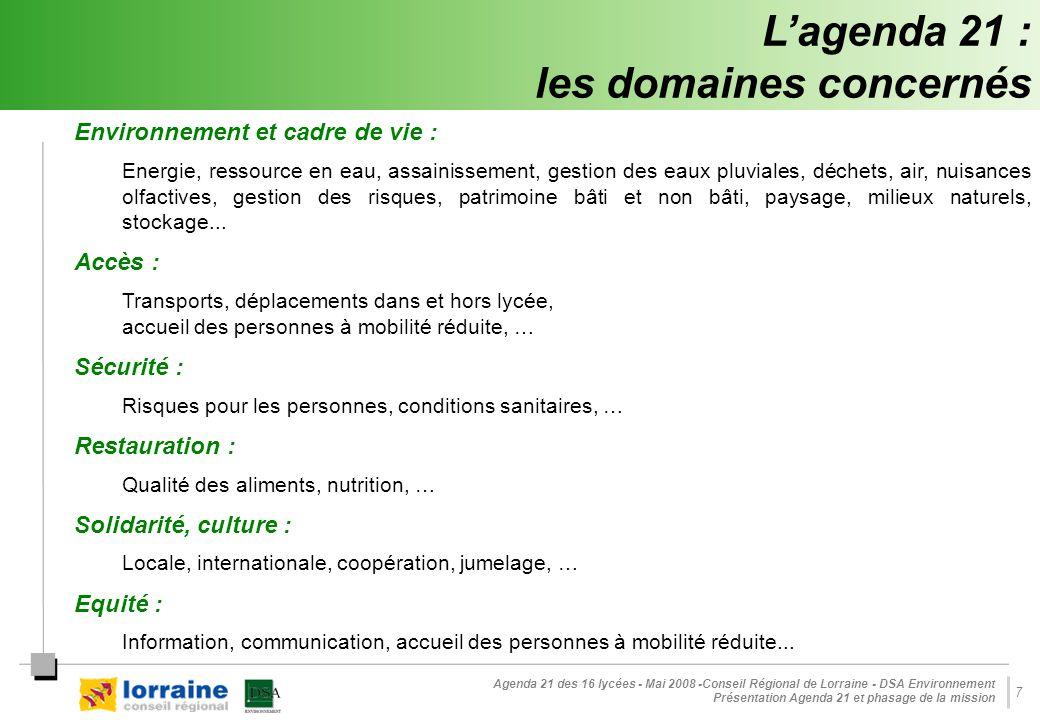 Agenda 21 des 16 lycées - Mai 2008 -Conseil Régional de Lorraine - DSA Environnement Présentation Agenda 21 et phasage de la mission 7 L'agenda 21 : l