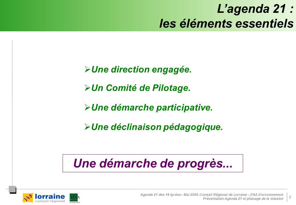 Agenda 21 des 16 lycées - Mai 2008 -Conseil Régional de Lorraine - DSA Environnement Présentation Agenda 21 et phasage de la mission 8 L'agenda 21 : les éléments essentiels  Une direction engagée.