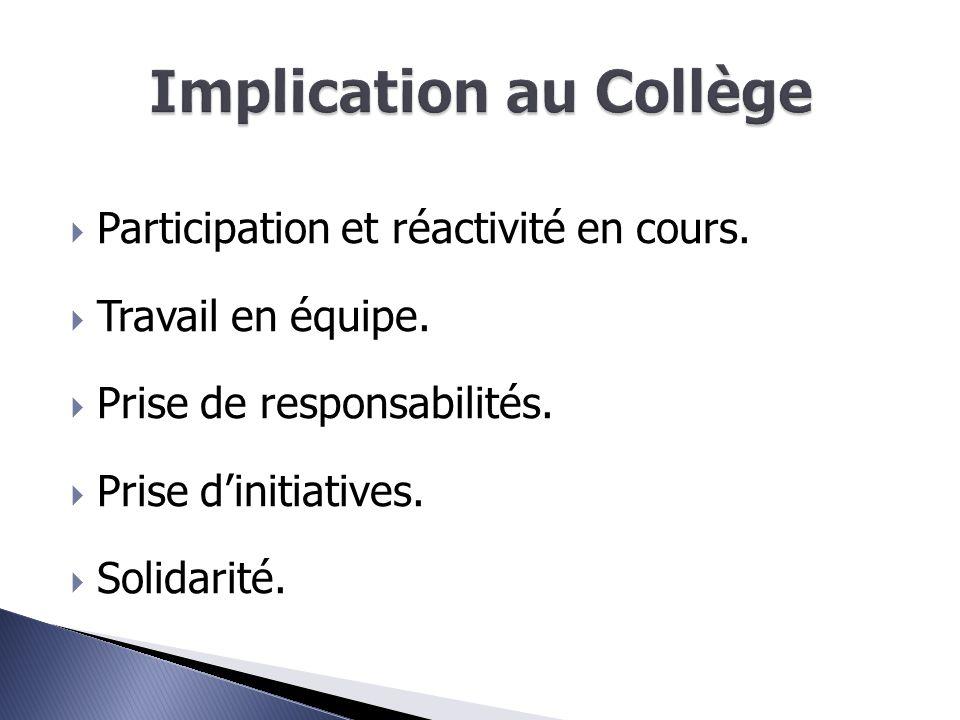  Participation et réactivité en cours.  Travail en équipe.  Prise de responsabilités.  Prise d'initiatives.  Solidarité.
