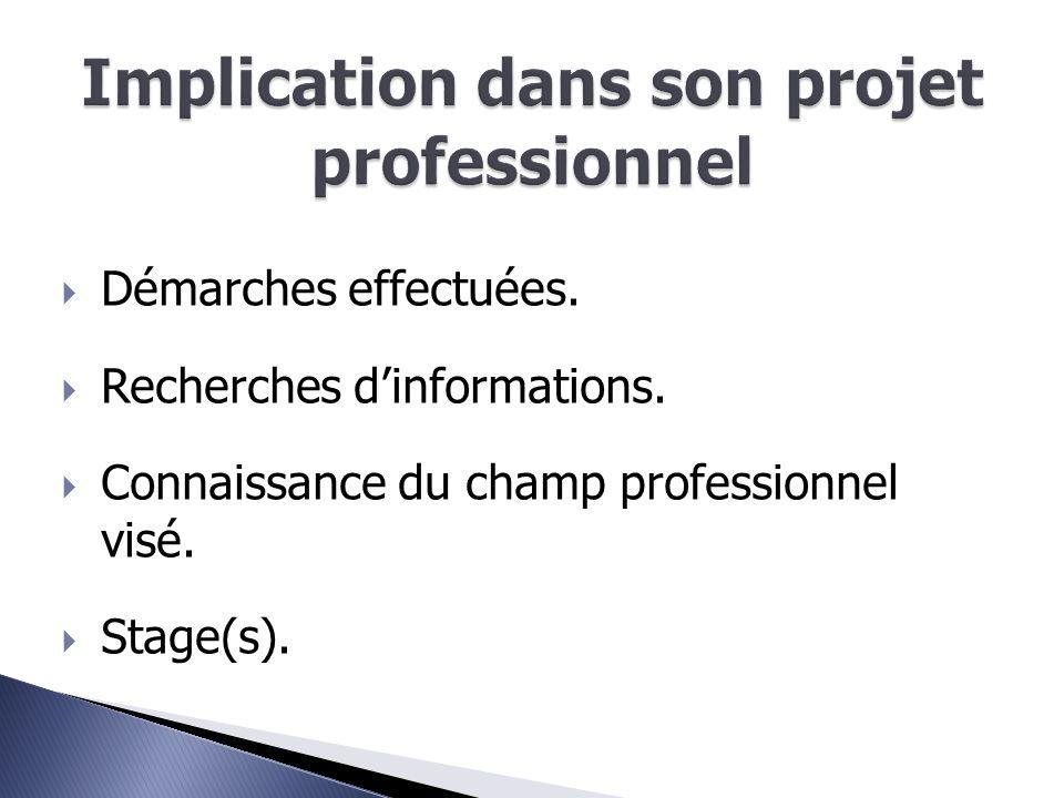  Démarches effectuées.  Recherches d'informations.  Connaissance du champ professionnel visé.  Stage(s).