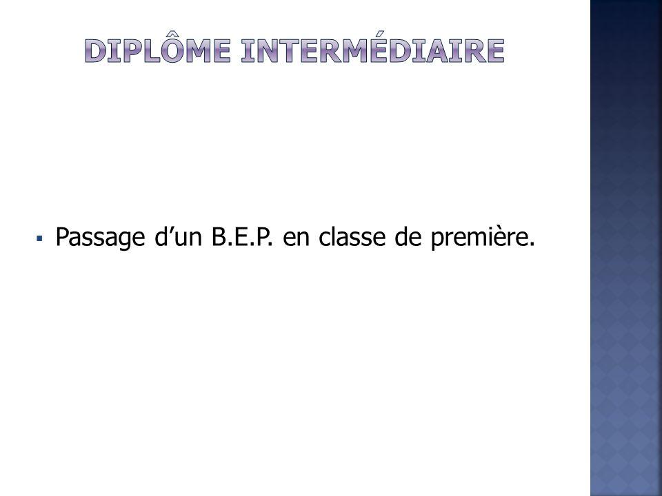  Passage d'un B.E.P. en classe de première.
