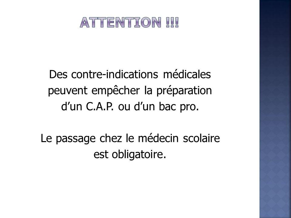 Des contre-indications médicales peuvent empêcher la préparation d'un C.A.P.