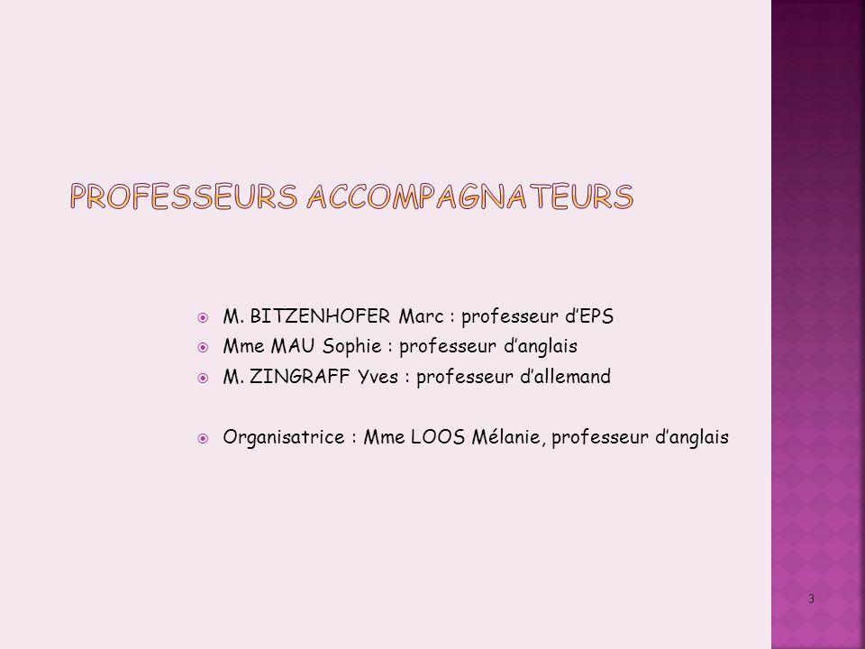 3  M. BITZENHOFER Marc : professeur d'EPS  Mme MAU Sophie : professeur d'anglais  M. ZINGRAFF Yves : professeur d'allemand  Organisatrice : Mme LO