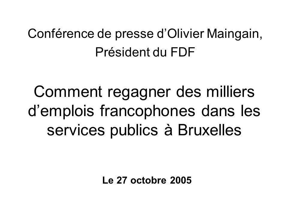 Personnel statutaire : 114 F – 206 N (35.6 % - 64.4 %) Personnel contractuel : 96F – 96 N (50 % - 50 %) Total : 210 F – 202 N (41.01 % F – 58.99 % N) Si l'on appliquait une clé 68/32 : 280 F – 132 N (soit un gain de 70 emplois au profit des francophones).