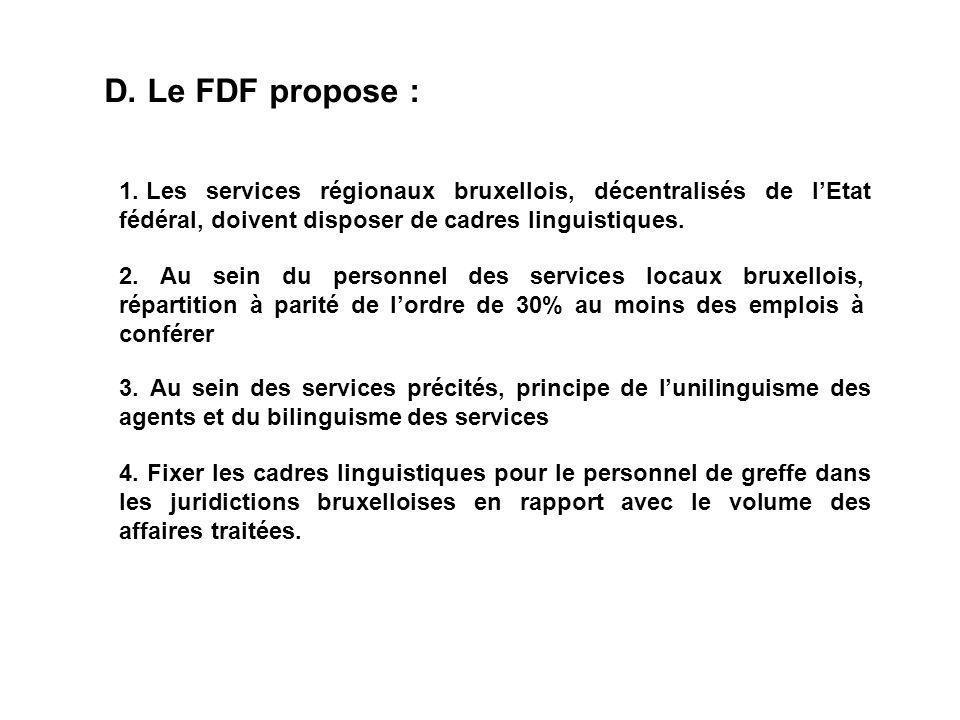 D. Le FDF propose : 1.