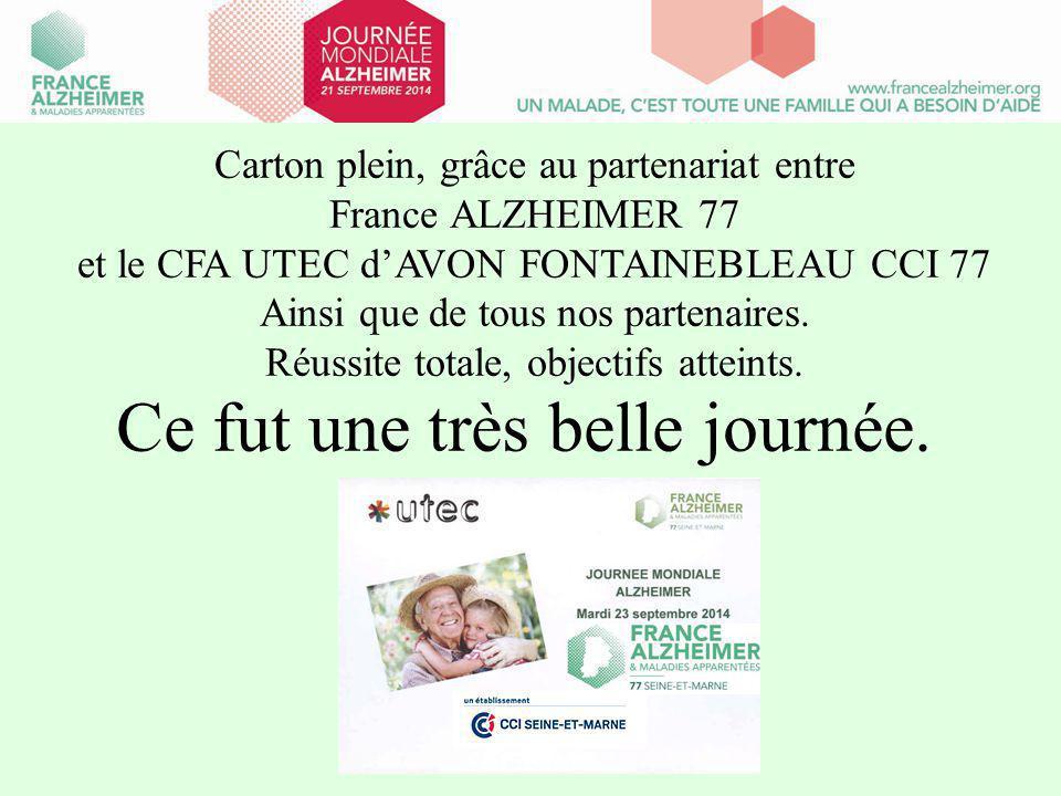 Carton plein, grâce au partenariat entre France ALZHEIMER 77 et le CFA UTEC d'AVON FONTAINEBLEAU CCI 77 Ainsi que de tous nos partenaires.