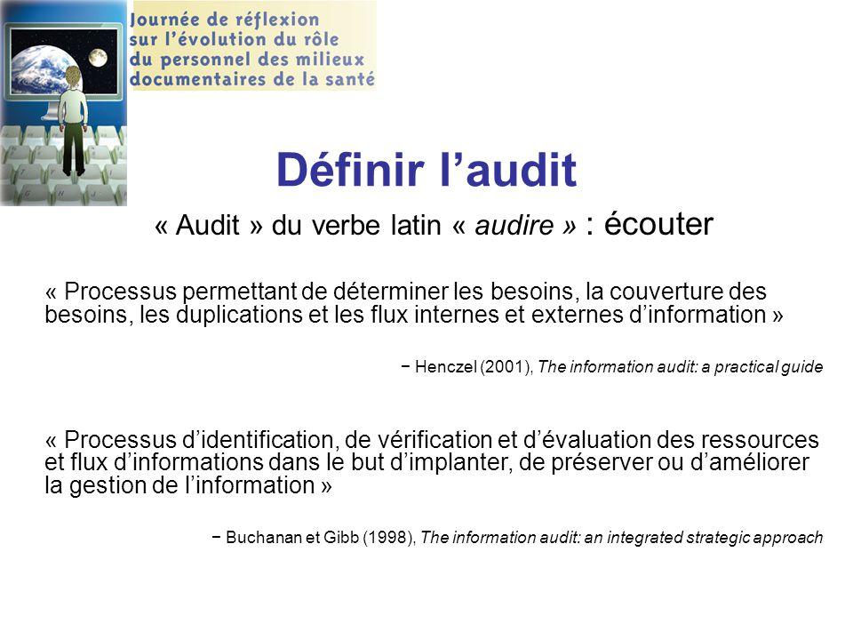 Définir l'audit « Audit » du verbe latin « audire » : écouter « Processus permettant de déterminer les besoins, la couverture des besoins, les duplica