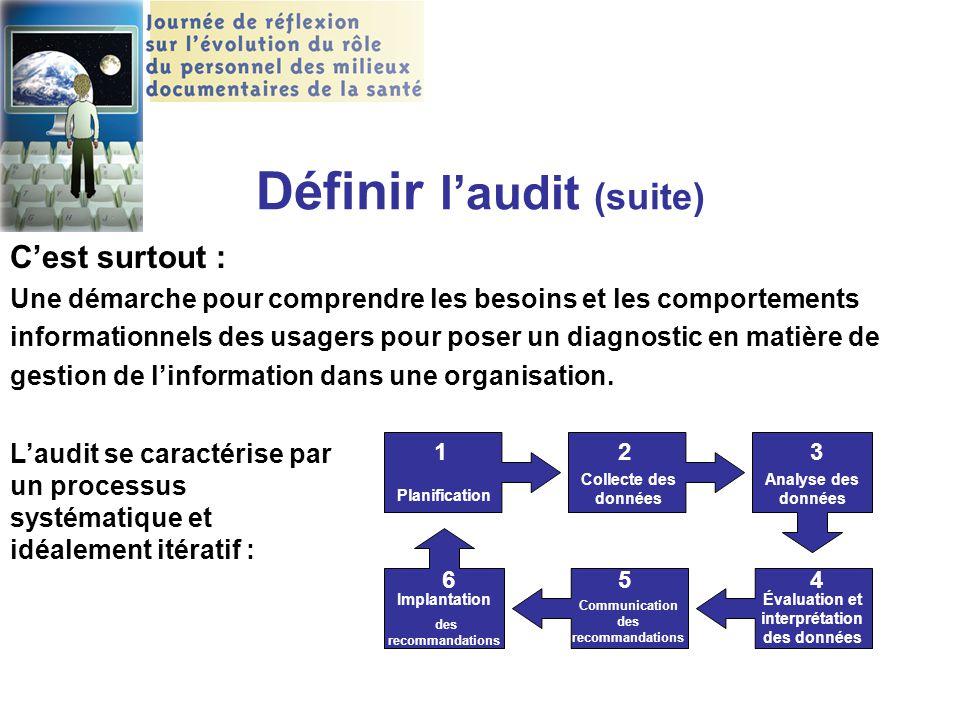 Définir l'audit (suite) C'est surtout : Une démarche pour comprendre les besoins et les comportements informationnels des usagers pour poser un diagno