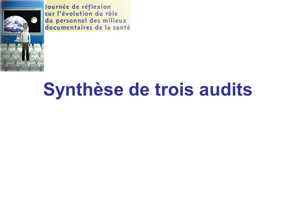 Synthèse de trois audits