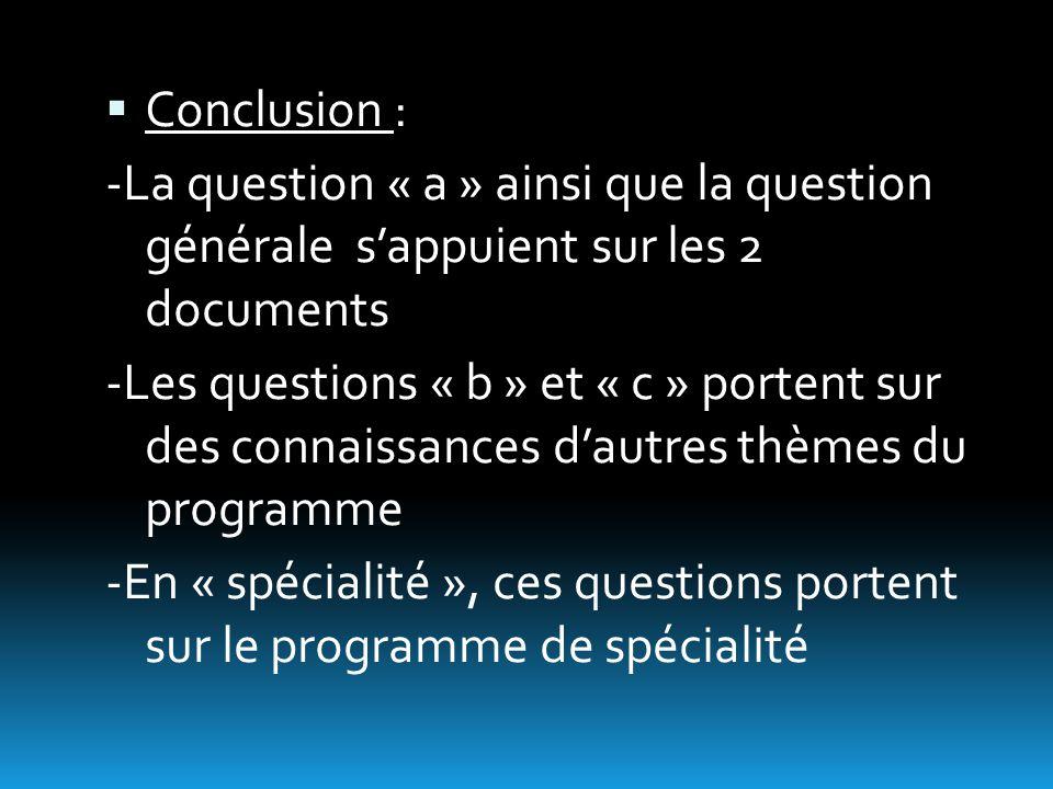  Conclusion : -La question « a » ainsi que la question générale s'appuient sur les 2 documents -Les questions « b » et « c » portent sur des connaissances d'autres thèmes du programme -En « spécialité », ces questions portent sur le programme de spécialité