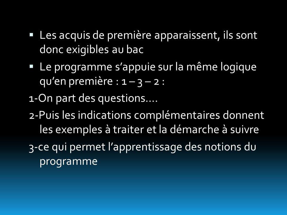  Les acquis de première apparaissent, ils sont donc exigibles au bac  Le programme s'appuie sur la même logique qu'en première : 1 – 3 – 2 : 1-On part des questions….