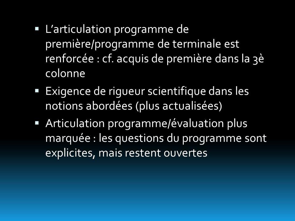  L'articulation programme de première/programme de terminale est renforcée : cf.