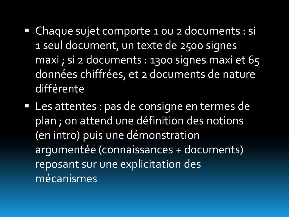  Chaque sujet comporte 1 ou 2 documents : si 1 seul document, un texte de 2500 signes maxi ; si 2 documents : 1300 signes maxi et 65 données chiffrée