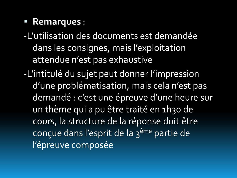  Remarques : -L'utilisation des documents est demandée dans les consignes, mais l'exploitation attendue n'est pas exhaustive -L'intitulé du sujet peu