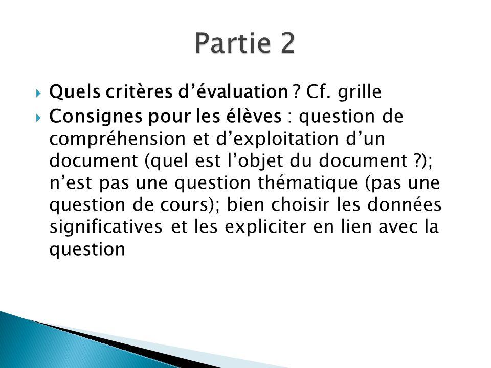  Quels critères d'évaluation .Cf.