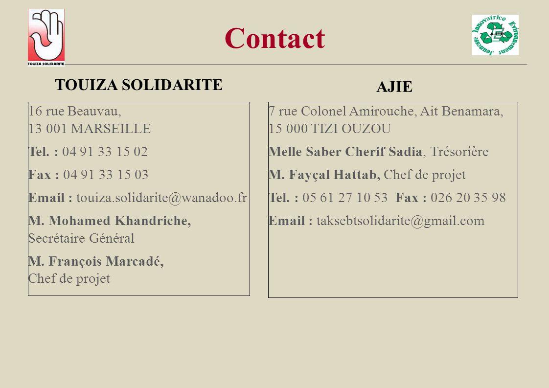 Contact TOUIZA SOLIDARITE 16 rue Beauvau, 13 001 MARSEILLE Tel. : 04 91 33 15 02 Fax : 04 91 33 15 03 Email : touiza.solidarite@wanadoo.fr M. Mohamed